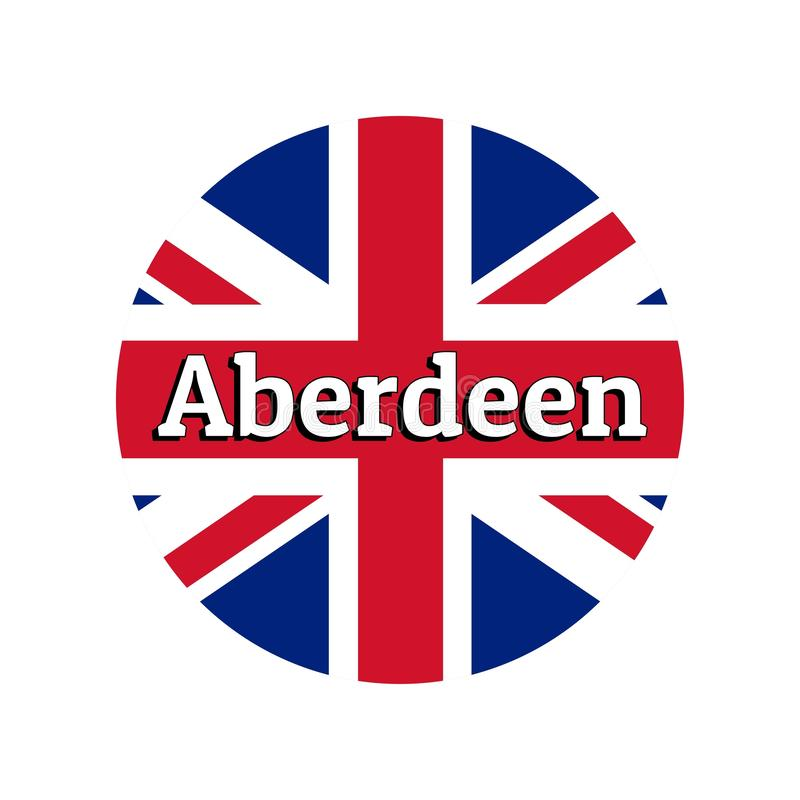 Round button Icon of national flag of United Kingdom of Great Britain. Union Jack on the white background with lettering. Of city name Aberdeen. Inscription for royalty free illustration