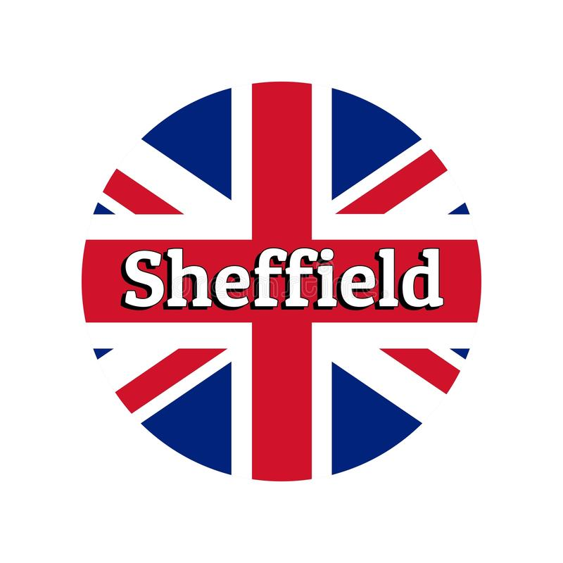 Round button Icon of national flag of United Kingdom of Great Britain. Union Jack on the white background with lettering. Of city name Sheffield. Inscription vector illustration