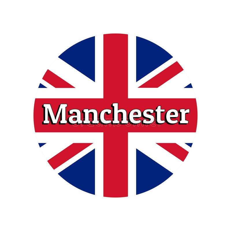 Round button Icon of national flag of United Kingdom of Great Britain. Union Jack on the white background with lettering. Of city name Manchester. Inscription vector illustration