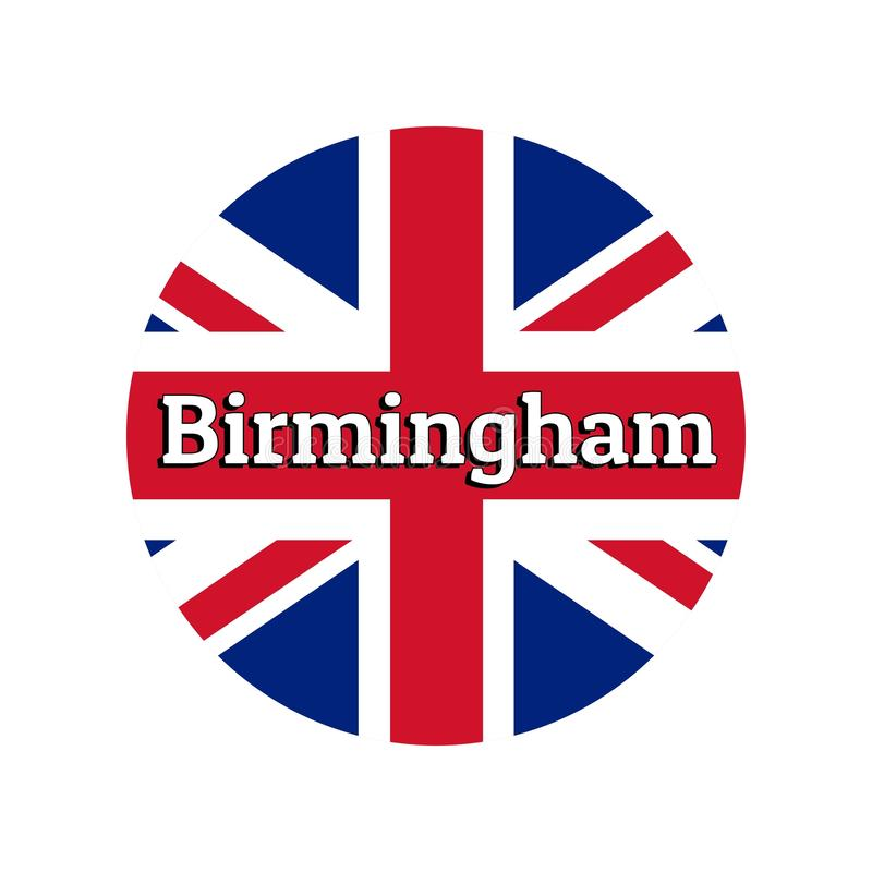 Round button Icon of national flag of United Kingdom of Great Britain. Union Jack on the white background with lettering. Of city name Birmingham. Inscription vector illustration