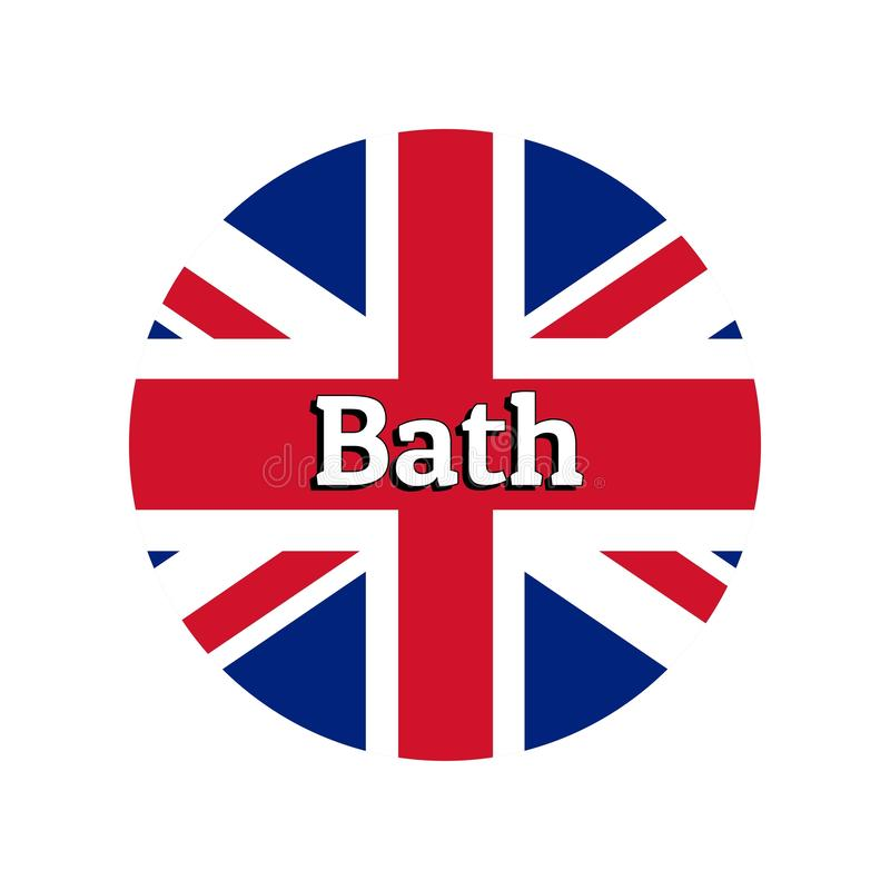 Round button Icon of national flag of United Kingdom of Great Britain. Union Jack on the white background with lettering. Of city name Bath. Inscription for stock illustration