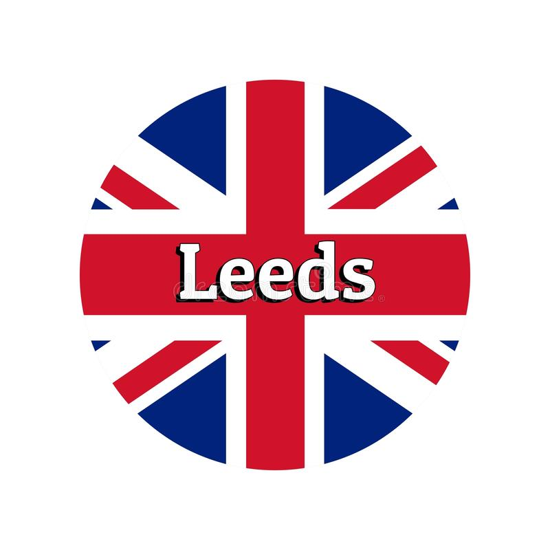 Round button Icon of national flag of United Kingdom of Great Britain. Union Jack on the white background with lettering. Of city name Leeds. Inscription for vector illustration
