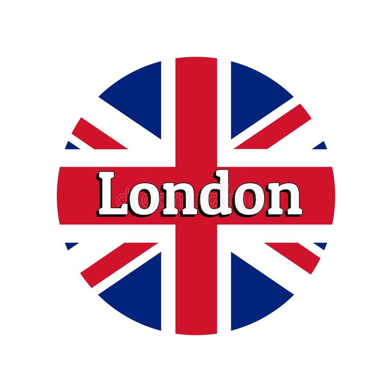 Round button Icon of national flag of United Kingdom of Great Britain. Union Jack on the white background with lettering. Of city name London. Inscription for royalty free illustration