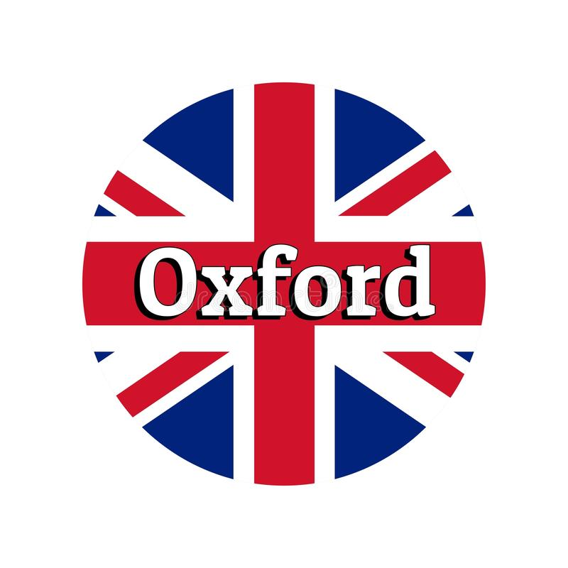 Round button Icon of national flag of United Kingdom of Great Britain. Union Jack on the white background with lettering. Of city name Oxford. Inscription for vector illustration