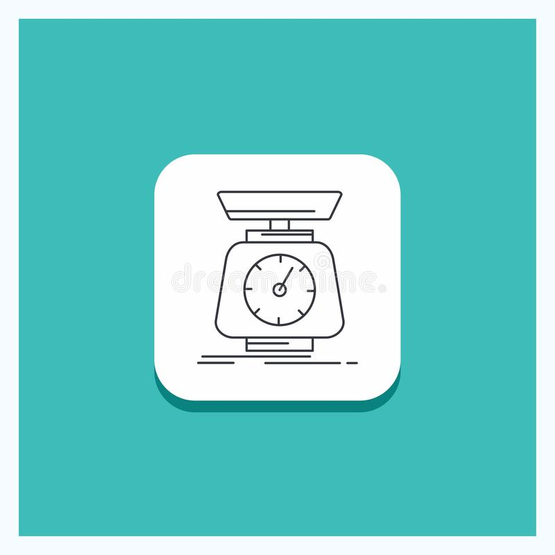 Round Button for implementation, mass, scale, scales, volume Line icon Turquoise Background royalty free illustration