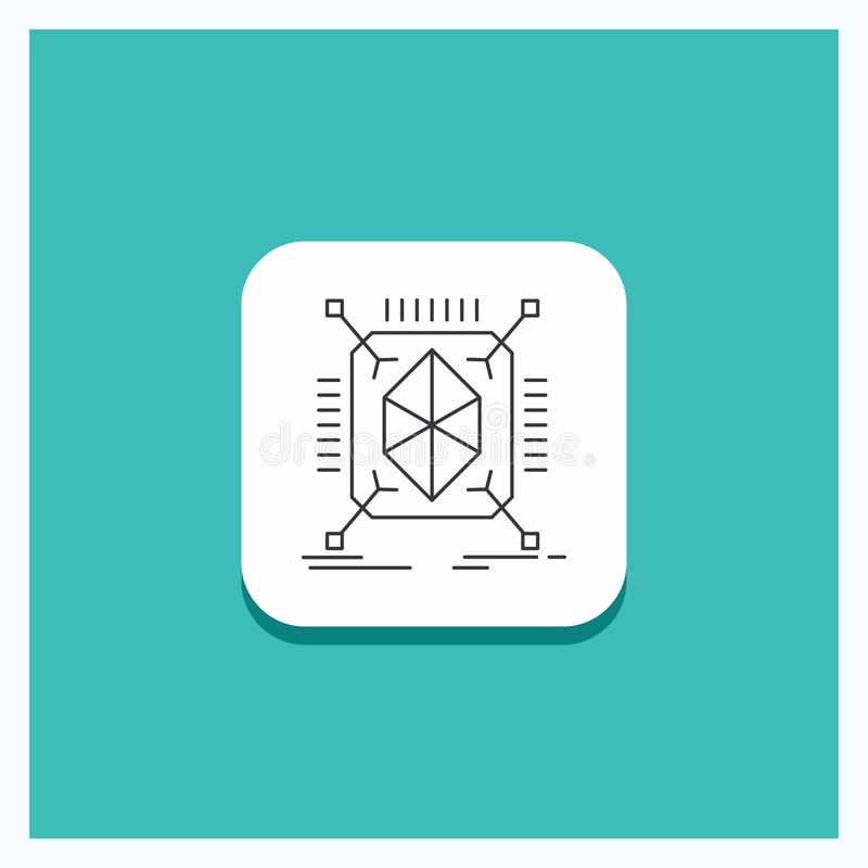 Round Button for Object, prototyping, rapid, structure, 3d Line icon Turquoise Background. Vector EPS10 Abstract Template background royalty free illustration