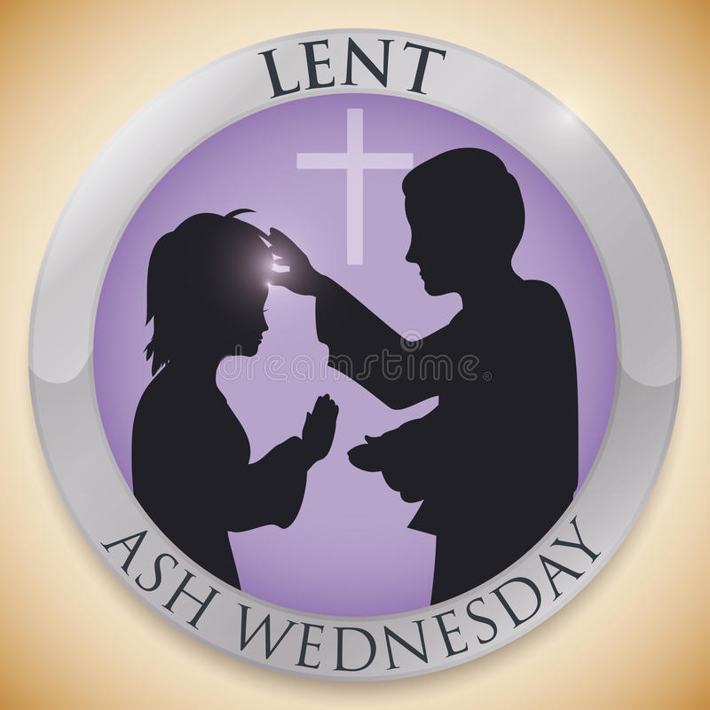 Round Button with Priest and Parishioner Silhouettes for Ash Wednesday, Vector Illustration royalty free stock photo