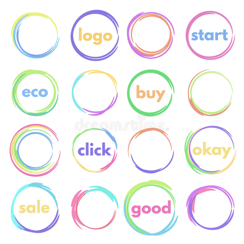 Round button. Set of logos circular, colorful round buttons, blank icons vector illustration