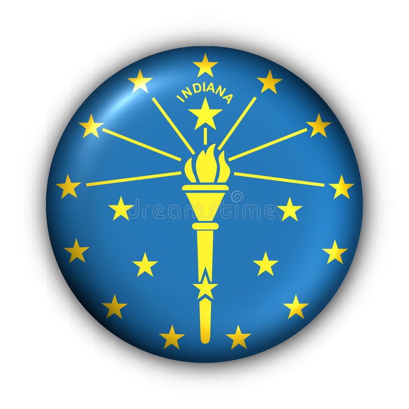 Round Button USA State Flag Of Indiana Royalty Free Stock Photo