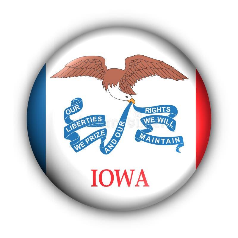 Round Button USA State Flag Of Iowa Royalty Free Stock Image