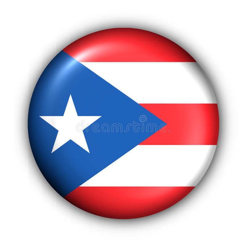 Round Button USA State Flag of Puerto Rico