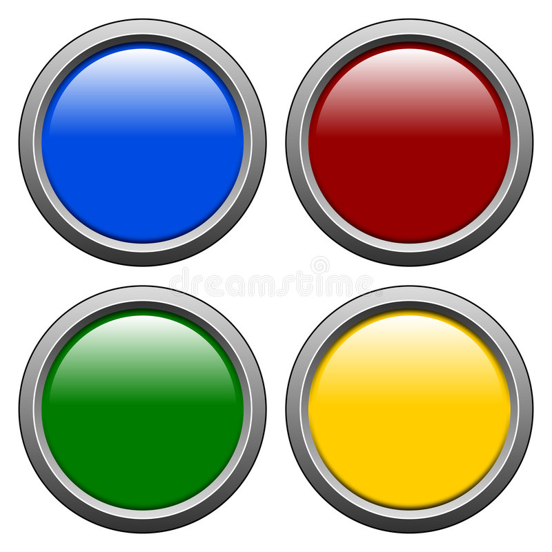 Round Buttons [1]. Four different round web buttons with shiny colors, isolated on white background royalty free illustration