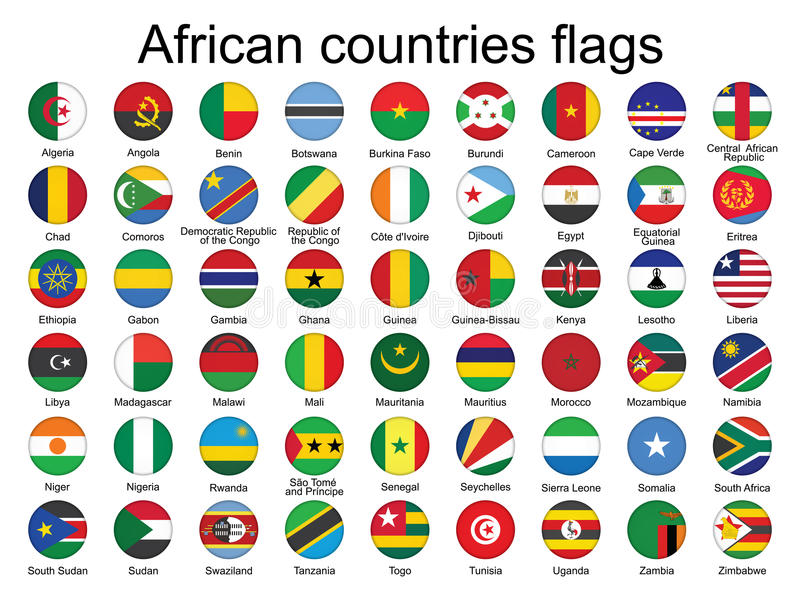 Round Buttons With Flags Of Africa Stock Images