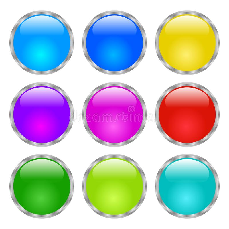 Round buttons. Shiny Web icon with metallic frame. Isolated on white background. Raster version vector stock illustration