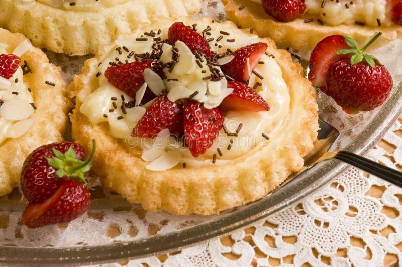 Round cake with fresh strawbe. Home made round cake with fresh strawberries stock photos