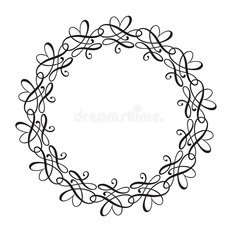 Round calligraphic heart vector wedding frame wreath with place for text. Isolated flourish vintage element for design royalty free illustration