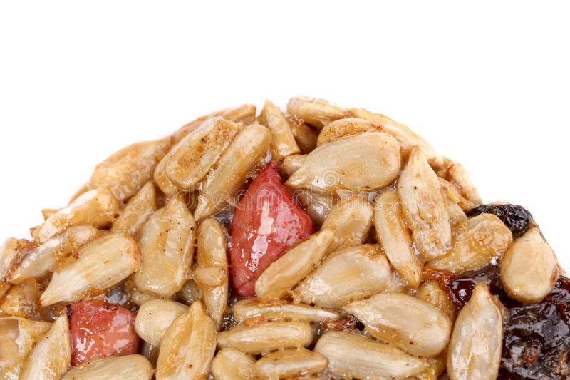 Round candied seeds and nuts. stock photos