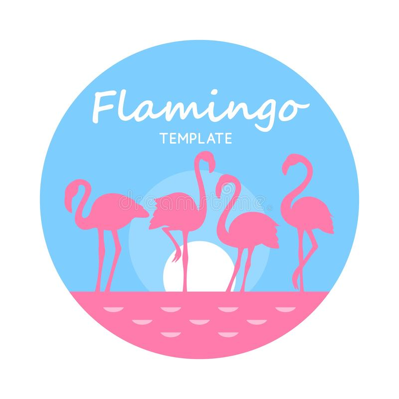 Round Card with pink flamingos on light blue isolated on white background. Funny Card with flat pink flamingos on light blue circle isolated on white background stock illustration