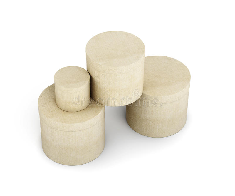 Round cardboard boxes stack isolated on white background. stock illustration