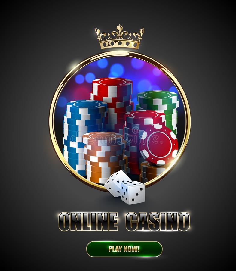 Round casino roulette golden frame window with crown, stack of poker chips and white dice on bright bokeh background. Gambling royalty free illustration