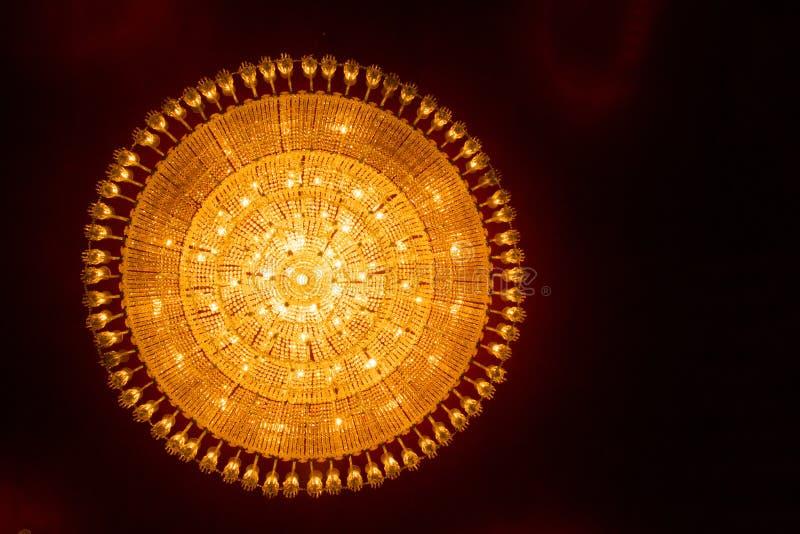 Round ceiling chandelier light at durga puja pandal worship royalty free stock image
