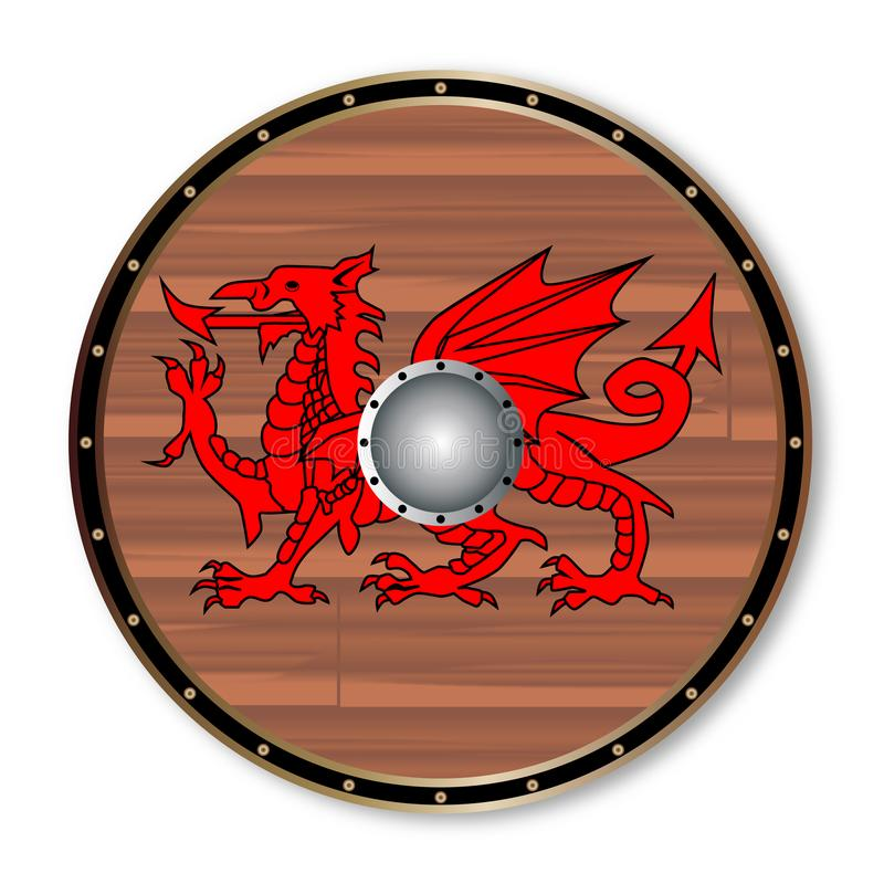 Round Celt Shield. A Welsh celtic round shield with a red dragon isolated on a white background vector illustration