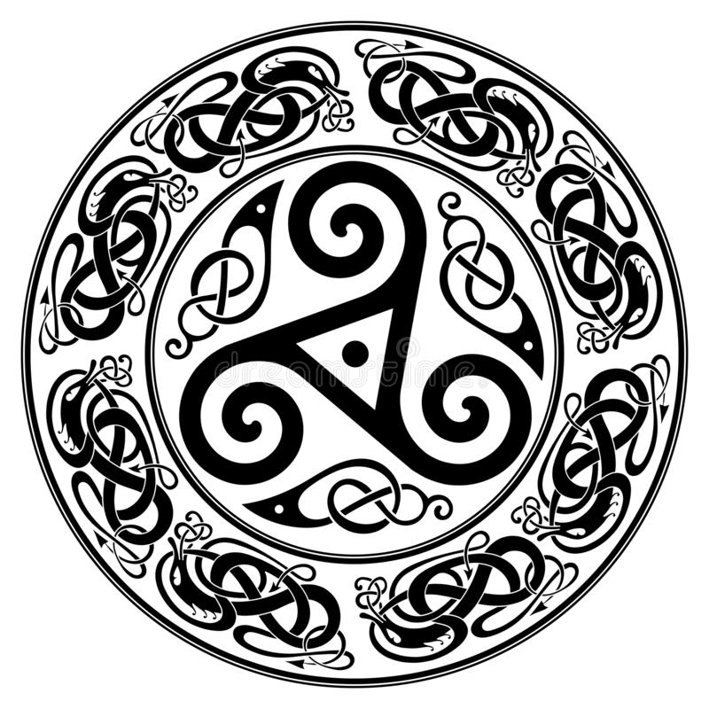 Round Celtic Design, triskele and celtic pattern vector illustration