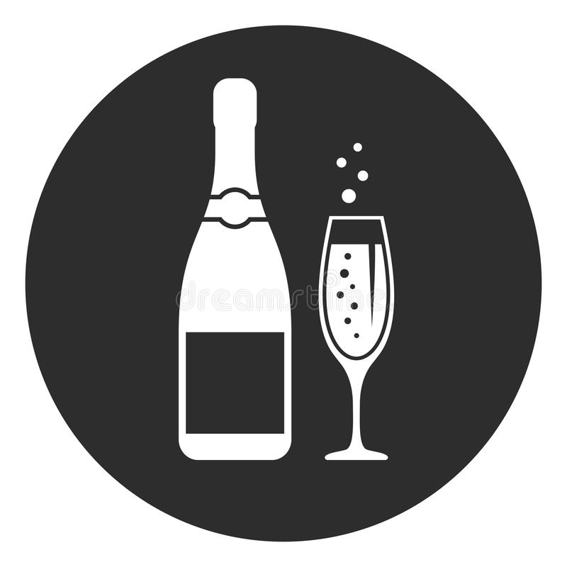 Round champagne vector pictogram vector illustration