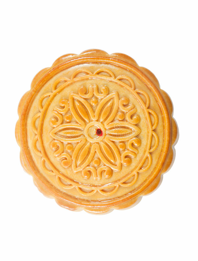 Lotus Seed Cake Durian Pulp With Lotus Seed Filled Moon Cake On White Light And Tender Chinese