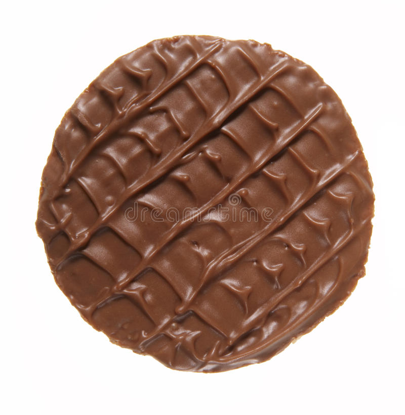 Round chocolate biscuit stock photo