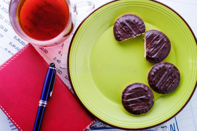 Round chocolate cookies stock photography