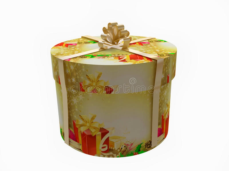 Round Christmas Gift Box With Golden Ribbon. From My Gift Boxes Collection stock illustration