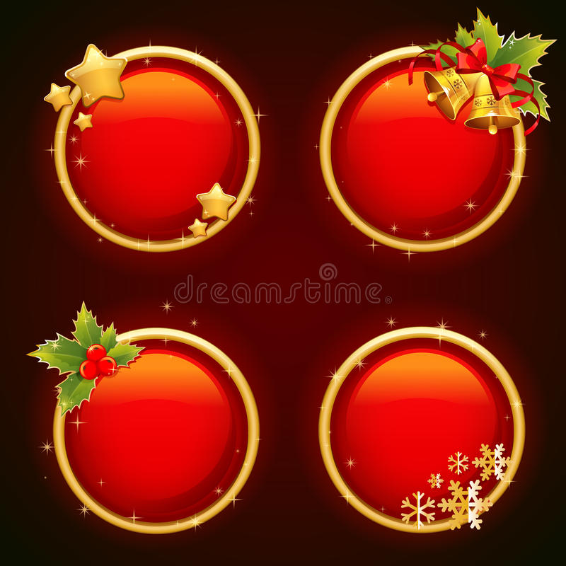 Round Christmas sale stickers with traditional winter elements royalty free illustration