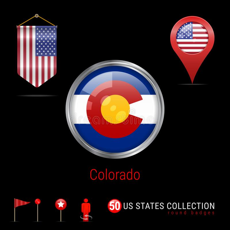Round chromu Wektorowa odznaka z Kolorado stanu usa flaga Banderki flaga usa Mapa pointer - usa Mapy nawigaci ikony royalty ilustracja