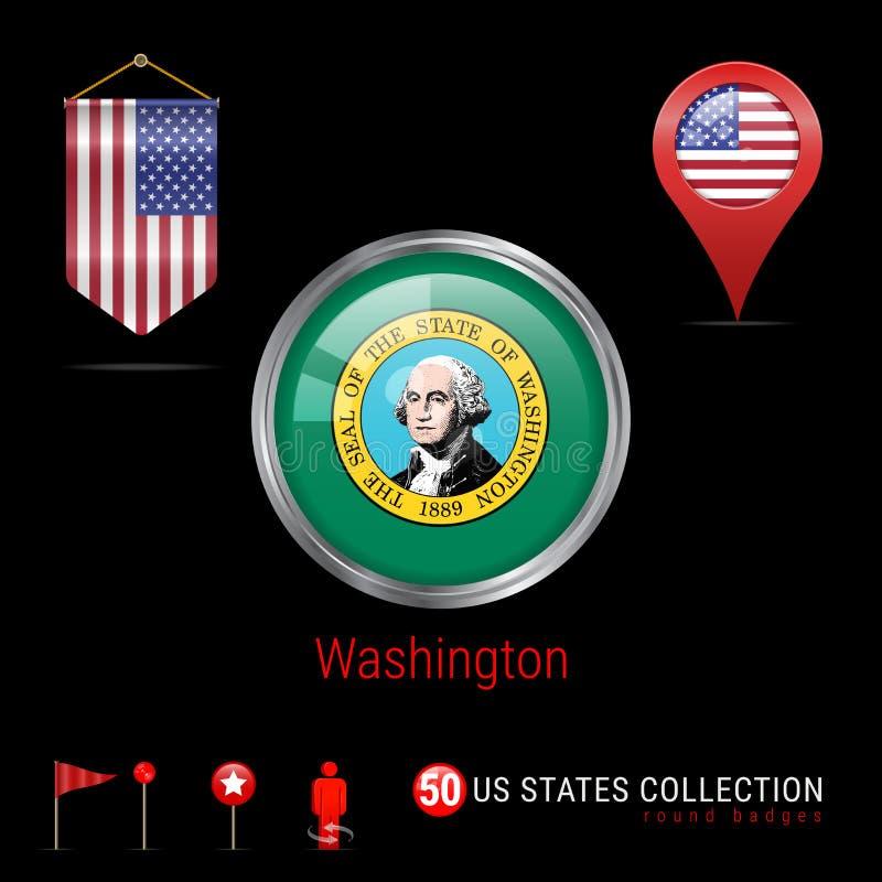 Round chromu Wektorowa odznaka z Waszyngtońską stan usa flaga Banderki flaga usa Mapa pointer - usa Mapy nawigaci ikony ilustracji