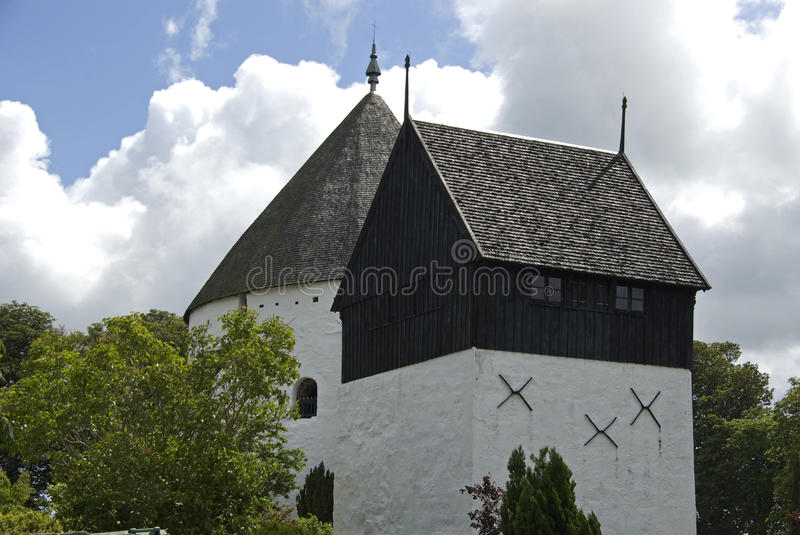 Round church. Famous white plastered round church on the island Bornholm. Osterlars kirke royalty free stock photography