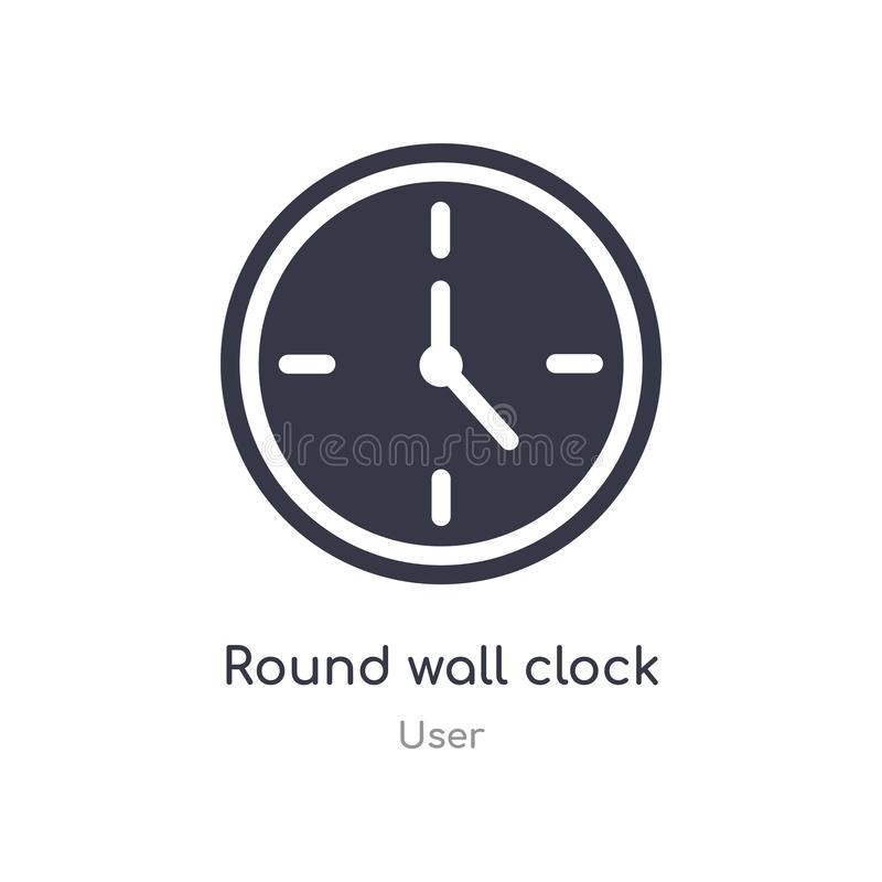 Round ?ciennego zegaru ikona odosobnionej round ściennego zegaru ikony wektorowa ilustracja od użytkownik kolekcji r ilustracji