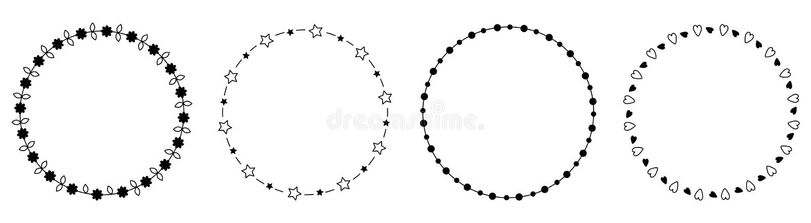 Round circle frame wreath icon set line. Daisy flower, star sparkle, leaf, dot decoration element. Flat design. Black and white stock illustration