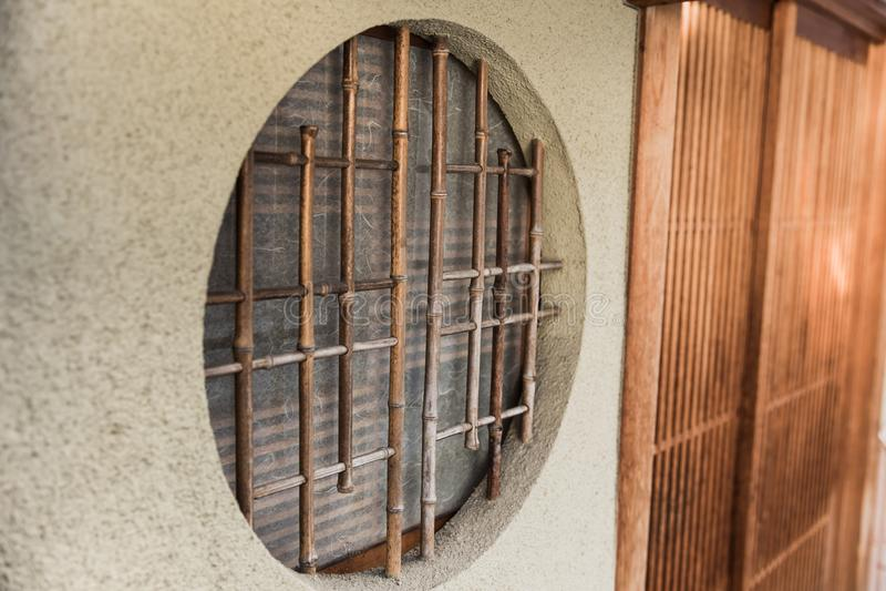 Round circle wood window japan style stock photo