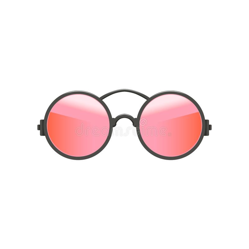 Round circular hipster sunglasses with red-pink lenses and gray metal frame. Fashion accessory for women. Flat vector stock illustration