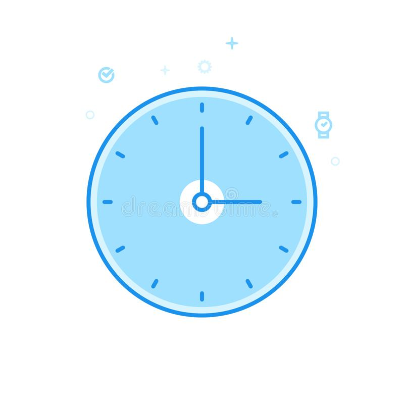 Round Classic Wall Clock Flat Vector Icon, Symbol, Pictogram, Sign. Light Blue Monochrome Design. Editable Stroke vector illustration