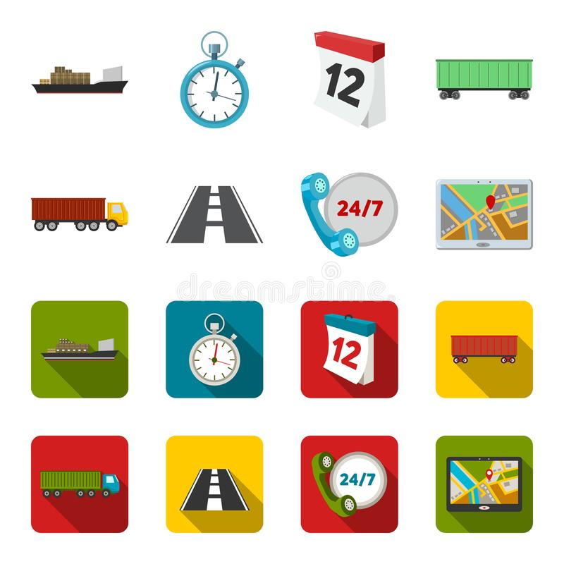 Round the clock, road, truck, JPS.Loqistic,set collection icons in cartoon,flat style vector symbol stock illustration.  royalty free illustration