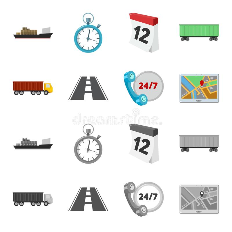 Round the clock, road, truck, JPS.Loqistic,set collection icons in cartoon,monochrome style vector symbol stock. Illustration stock illustration