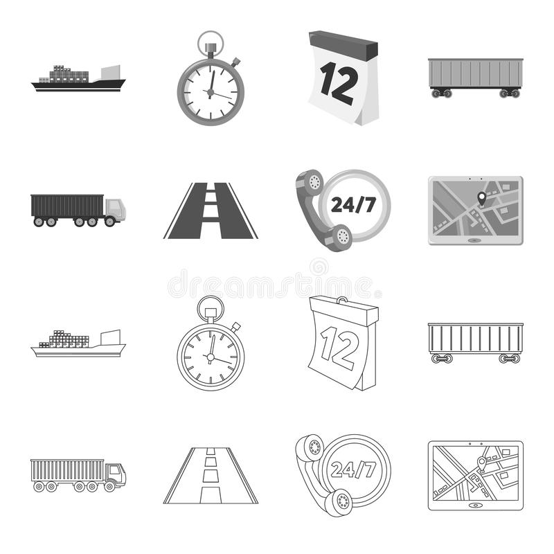 Round the clock, road, truck, JPS.Loqistic,set collection icons in outline,monochrome style vector symbol stock. Illustration royalty free illustration