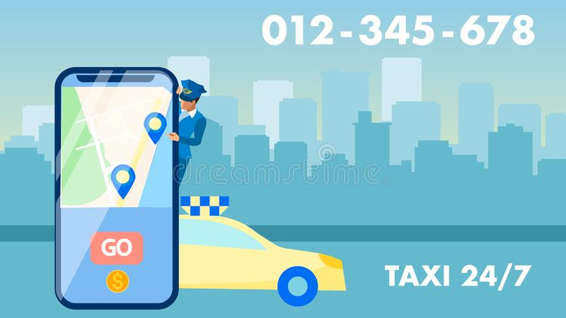 Round the clock Taxi Service Advertising Banner. Personal Chauffeur Cartoon Character. Phone Number, Cab Driver, Cityscape Silhouette. Transport Call, City stock illustration