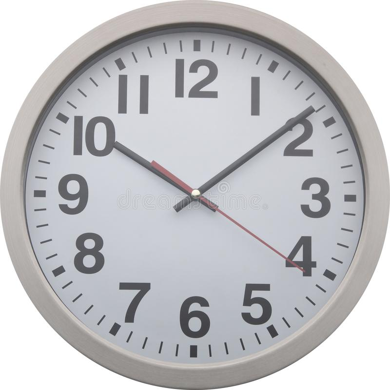 A round clock is on a white background stock photography