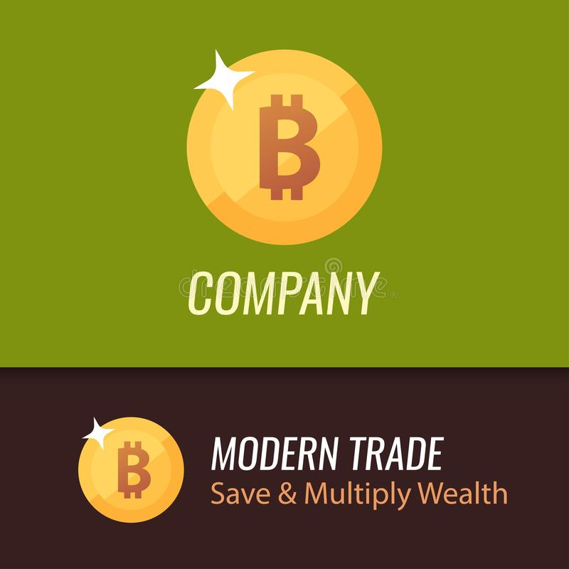 Round Coin Sign of bitcoin - Vector Golden illustration on green and dark brown backgrounds. royalty free illustration
