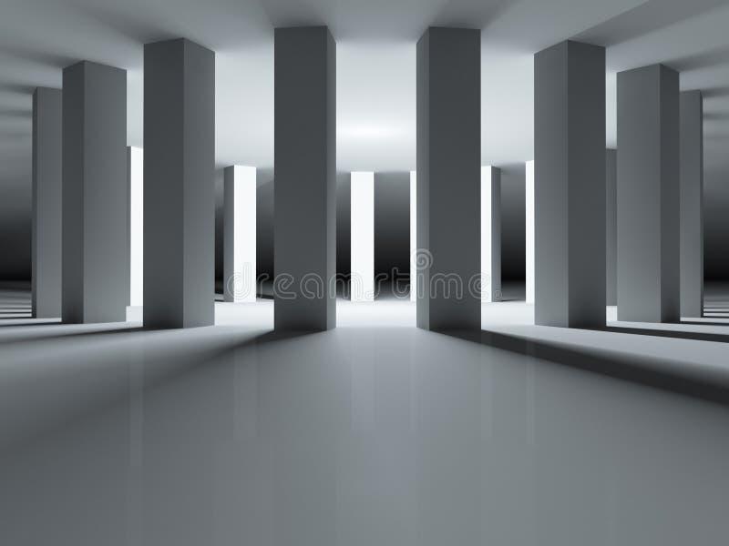 Download Round Colonnade Illuminated Stock Illustration - Illustration of render, interior: 25700289