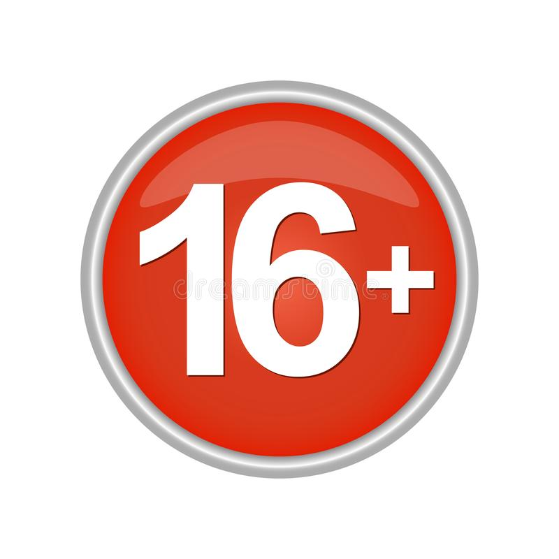Round colored button indicating the age restrictions 16. Round colored button labeled with age restrictions 16 vector illustration