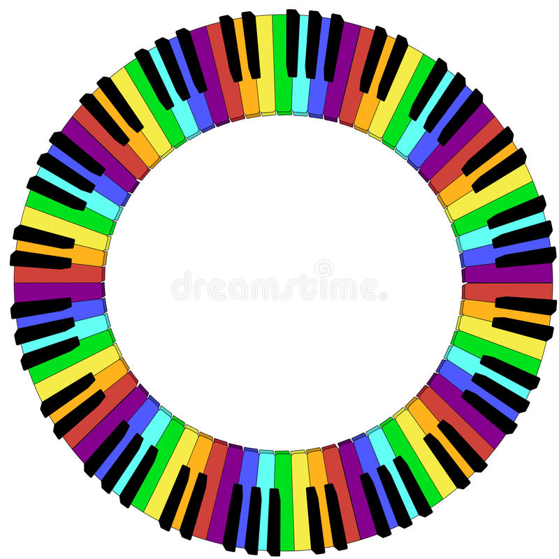 Round colored piano keyboard frame vector illustration